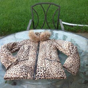 Via spiga leopard print fur hood jacket size xs